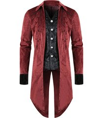 gothic jacquard single breasted back split long tail coat