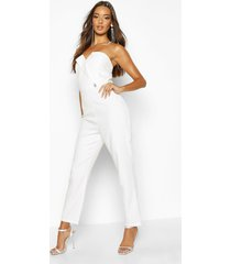 diamante trim strapless tailoring jumpsuit, white