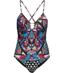 ava cross back vee swimsuit badpak badkleding multi/patroon superdry