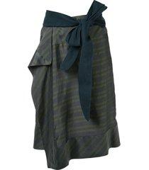 a.f.vandevorst horizontal-stripes wraparound skirt - green