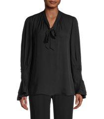 kobi halperin women's jocelyn draped silk blouse - black - size s