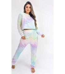 pijama cropped de manga longa e calã§a estampa digital (tie dye) - ref: k2815 - multicolorido - feminino - dafiti