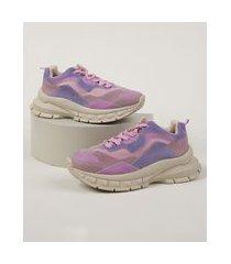 tênis chunky feminino zatz com recortes lilás