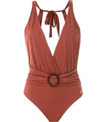brigitte draped swimsuit - brown