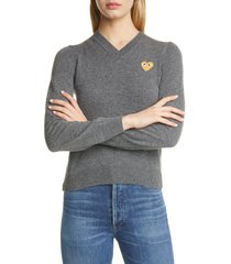 comme des garcons play golden heart logo wool sweater, size medium in grey at nordstrom