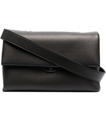emporio armani small braided-handle flap handbag - black