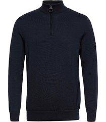 b.intl cotton half zip knitwear half zip jumpers blå barbour