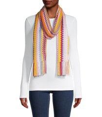 missoni women's skinny long fringe-trim scarf
