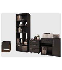 conjunto para escritório 02 livreiro/balcáo multiuso/gaveteiro/cachepô preto modern office e estilare móveis
