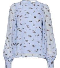 printed georgette blouse lange mouwen blauw ganni
