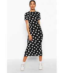 spot crew neck midaxi dress, black