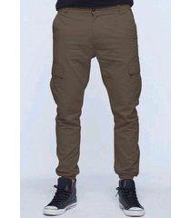 pantalón marrón elliot white cargo con puño
