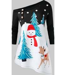 plus size christmas skew collar snowman print asymmetrical sweatshirt