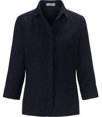 blouse 100% linnen 3/4-mouwen van peter hahn pure edition blauw