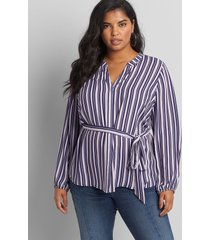 lane bryant women's striped notched-neck belted top 38/40 purple stripe