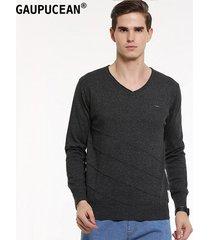 suéter manga larga gaupucean para hombre-gris oscuro