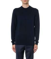 calvin klein blue sweatshirt in wool and cotton with logo