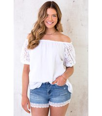 katoenen off shoulder top met kant