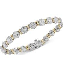 diamond halo cluster link bracelet (4 ct. t.w.) in 14k gold & white gold