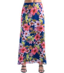 women's sheer double layer floral maxi skirt