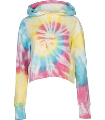 neon tie dye cropped hoodie