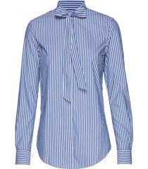 d1. tp bc striped bow blouse overhemd met lange mouwen blauw gant