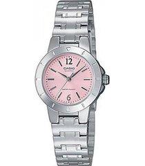 reloj analógico mujer casio ltp-1177a4a1 - plateado con rosa