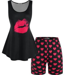 plus size lip and heart print shorts pajamas set