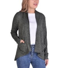 ny collection petite ribbed-knit open-front cardigan