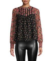 allison new york women's floral print blouse - black multi - size s
