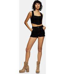 idol black denim seamed hotpant shorts - black