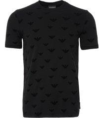 emporio armani flocked velvet logo t-shirt - black 6z1tc5 1jptz 0999