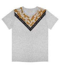 t- shirt feminina detalhada rovitex cinza