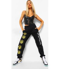 joggingbroek met smiley, bright yellow