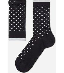 calzedonia classic patterned lisle thread ankle socks man black size tu