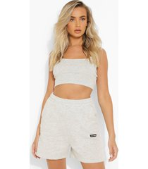 geribbeld hemd en joggingbroek set, ash grey