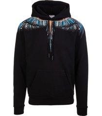 marcelo burlon man black grizzly wings hoodie