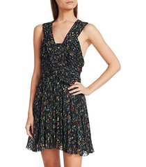 floral ruched silk-blend a-line dress