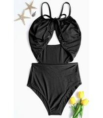 bikini negro de una pieza frontal con recorte sexy