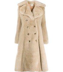 a.w.a.k.e. mode flared faux-fur coat - neutrals