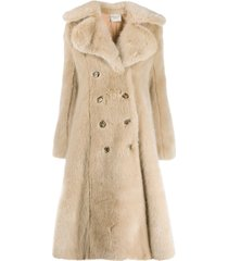 a.w.a.k.e. mode flared faux-fur coat - neutrals