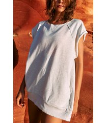 women's free people fp movement muscle tunic, size large - white