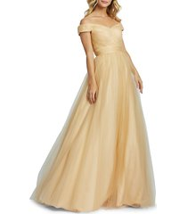 mac duggal women's empire tulle ball gown - champagne - size 6