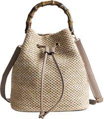 bolsa mini mochila com alça de madeira vintage tendência marim
