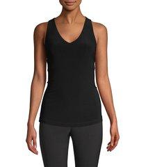donna karan women's icons sleeveless v-neck top - black - size s
