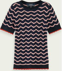 scotch & soda 100% cotton ajour knitted short sleeve pullover