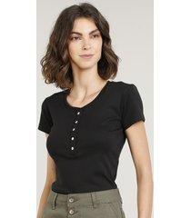 blusa básica com botões manga curta decote redondo preta