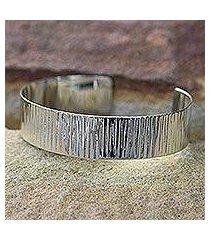 sterling silver cuff bracelet, 'rain' (thailand)