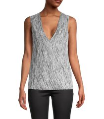 bcbgmaxazria women's knit sleeveless wrap top - black combo - size xs