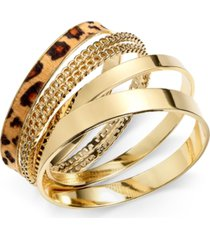thalia sodi gold-tone animal-print bangle bracelet set, created for macy's